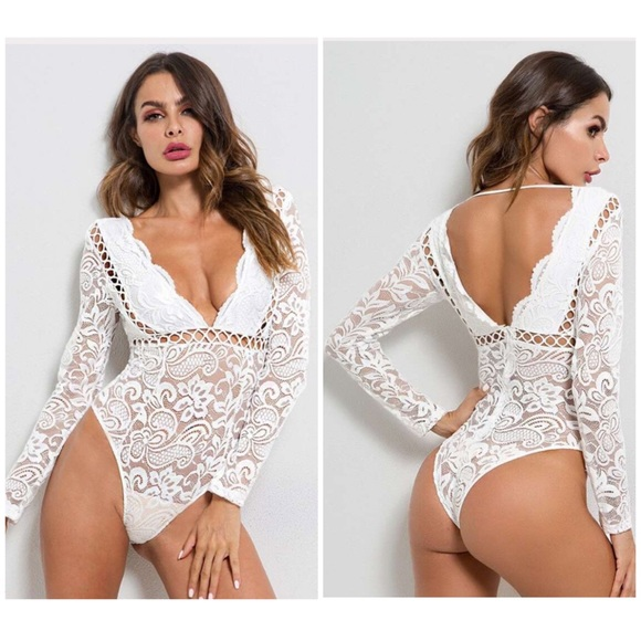 The Black Diamond Boutique Other - Lace Cutout Low Long Sleeve V Neck Lined Bodysuit